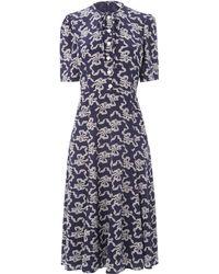 L.K.Bennett - Montana Navy Silk Dress - Lyst
