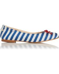 L.K.Bennett - Thea Blue White Striped Flats - Lyst