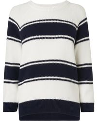 L.K.Bennett - Lilian Navy And White Sweater - Lyst