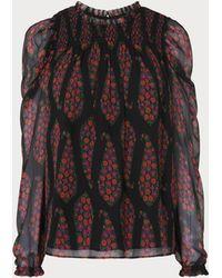 L.K.Bennett - Getty Black Multi Silk Woven Top - Lyst