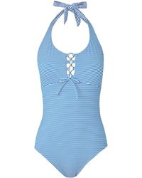 L.K.Bennett - Anne Blue Stripe Swimsuit - Lyst