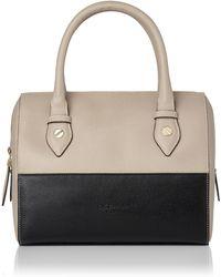 L.K.Bennett - Melanie Taupe Black Leather Shoulder Bag - Lyst