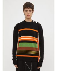 JW Anderson - Striped Crew Neck Sweater In Black - Lyst