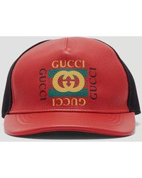 Gucci - Print Leather Baseball Hat - Lyst