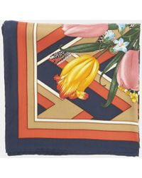 Gucci - Flora Snake Print Silk Scarf In Red And Navy - Lyst