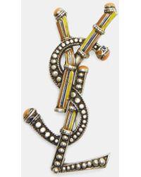 Saint Laurent - Opyum Berber Ysl Interlocking Brooch In Gold - Lyst