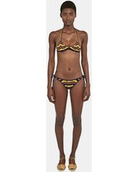 All That Remains | Women's Honey Tie Sides Zigzag Bikini In Navy And Yellow | Lyst