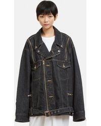 Facetasm - Zip Shoulder Denim Jacket In Black - Lyst