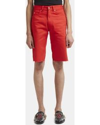 Gucci - Ripped Jean Shorts In Red - Lyst