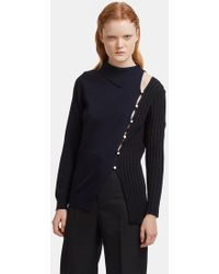 Jacquemus - La Maille Coupée Buttoned Knit Sweater In Navy - Lyst