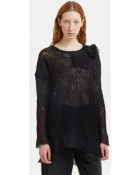 Valentino - Oversized Floral Appliqué Holed Knit Sweater In Black - Lyst