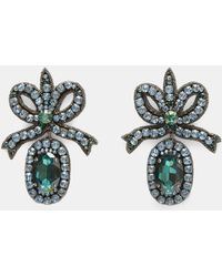 Gucci - Crystal- Embroidered Bow Earrings In Blue And Green - Lyst