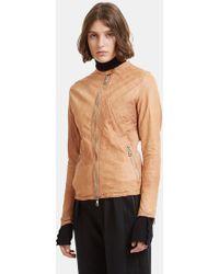Giorgio Brato - Biker Leather Jacket In Beige - Lyst