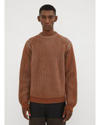 Lanvin - Two Tone Ribbed Jumper In Brown - Lyst