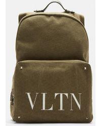Valentino - Vltn Canvas Backpack In Khaki - Lyst