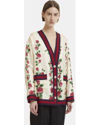 Gucci - Floral Print Silk Pyjama Shirt In Ivory - Lyst