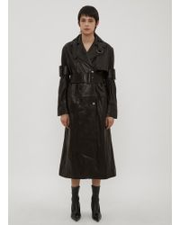 Yang Li - Double Breasted Leather Trench Coat In Black - Lyst