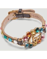 Gucci - Double G Leather Bracelet In Black - Lyst