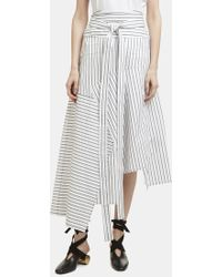 J.W.Anderson - Striped Asymmetric Patchwork Skirt In White - Lyst