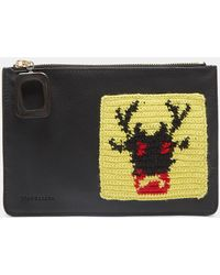 JW Anderson - Crochet Patch Leather Pouch In Black - Lyst
