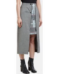 Capara - Layered Hounds Tooth A-line Skirt 13 In Grey - Lyst