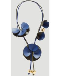 Marni - Sculptural Leather Flower Necklace In Blue - Lyst