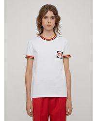 Miu Miu - Striped Rubber Logo Patch T Shirt In White - Lyst