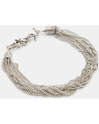 Saint Laurent - Loulou Twisted Chain Bracelet In Silver - Lyst