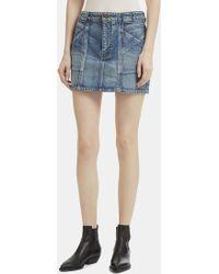 Saint Laurent - Mini Patchwork Denim Skirt In Blue - Lyst