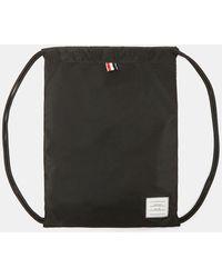 Thom Browne | Drawcord Nylon Woven Bag In Black | Lyst