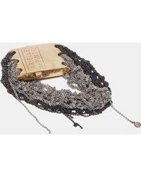 Arielle De Pinto | Women's Split Band Square Clasp Bracelet In Charcoal And Ash | Lyst