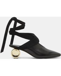 J.W.Anderson - Women's Cylinder Heeled Leather Ballerina Shoes In Black - Lyst