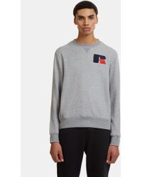 Russell Athletic - Eagle R Chenille Patch Sweater In Grey - Lyst