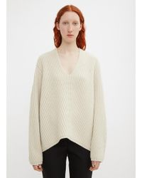 Acne Studios - Deborah Deep V-neck Knit Jumper In Beige - Lyst