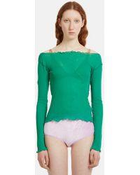 Baserange - Lettuce Frill Long Sleeve T-shirt In Green - Lyst