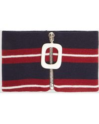 JW Anderson - Striped Zipped Neckband In Burgundy - Lyst