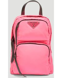 Prada - Leather-trimmed Neon Shell Backpack - Lyst