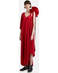 Valentino - Asymmetric Ruffled-shoulder Gown In Red - Lyst