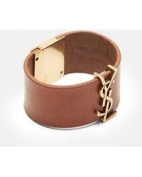 Saint Laurent - Leather Hardware Cuff In Brown - Lyst