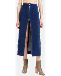 Eckhaus Latta - Women's Velvet Zip-up Skirt In Blue - Lyst
