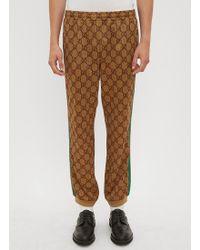 Gucci - GG Supreme Print Cotton Blend Sweat Pants - Lyst