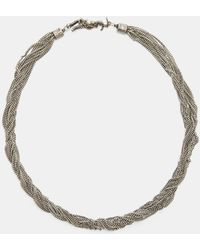 Saint Laurent | Loulou Twisted Chain Choker Necklace In Silver | Lyst