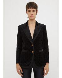 Gucci - GG Velvet Blazer In Black - Lyst