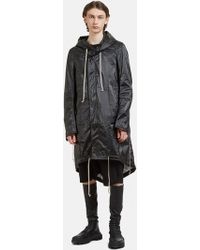 Rick Owens Drkshdw - Hooded Fishtail Parka Coat In Black - Lyst