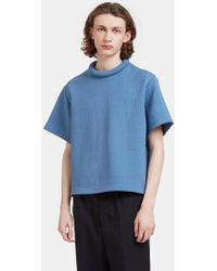 Mohsin - Men's Rufus Textured Padded Ring Collar T-shirt In Blue - Lyst
