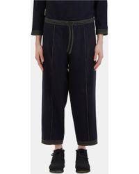 Marvielab - Women's Tartan Trim Reversible Wool Trousers In Navy - Lyst
