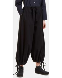 Marvielab - Women's Oversized Cropped Drawstring Trousers In Navy - Lyst
