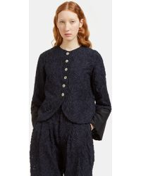 Renli Su - Women's Raw Floral Embroidered Jacket In Navy - Lyst