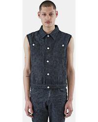 Telfar - Men's Sleeveless Embroidered Denim Vest In Black - Lyst