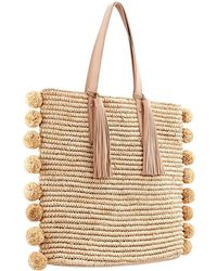 Loeffler Randall - Cruise Pompom-embellished Leather-trimmed Woven Raffia Tote - Lyst